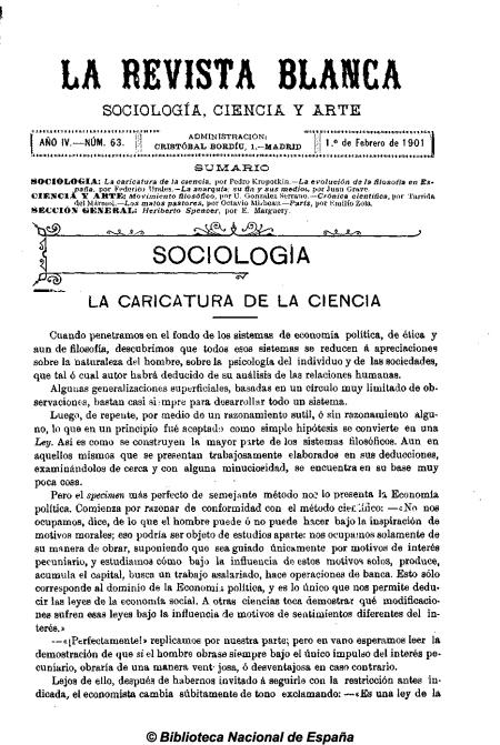 La Revista Blanca nº 63 AÑO III, 1-2-1901
