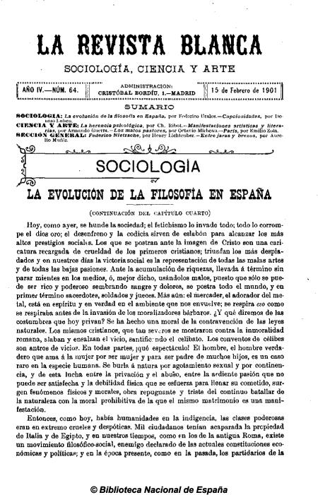 La Revista Blanca nº 64, AÑO III 15-2-1901 PORTADA