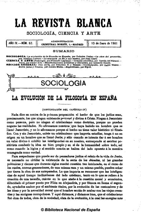 La Revista Blanca no 62 AÑO III, 15-1-1901